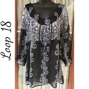 Lane Bryant Sheer Boho Top Blouse Shirt Size 18-20